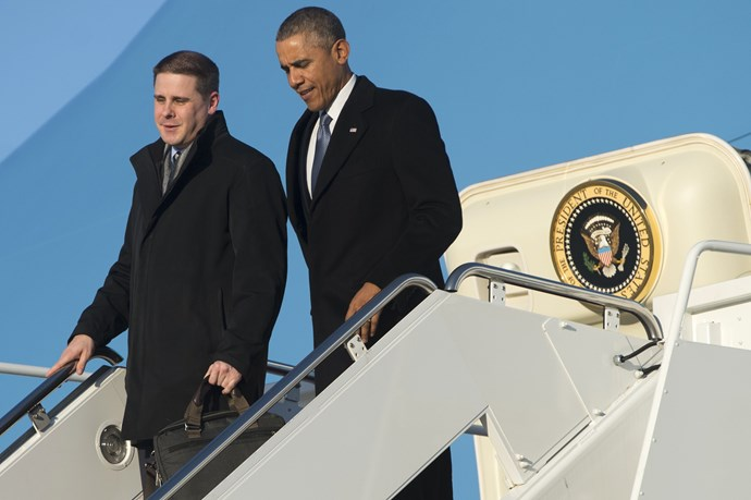 Dan Pfeiffer and his former boss/match maker, Barack Obama step off Air Force One.