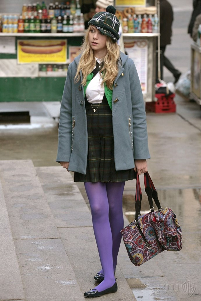 Jenny Humphrey had a dangerous penchant for colourful stockings in Season 1.