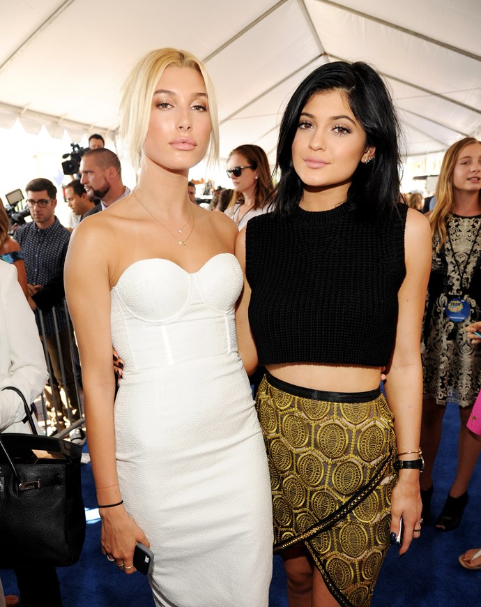 Tightey-whitey with one of her potential bridesmaids, Kylie Jenner.