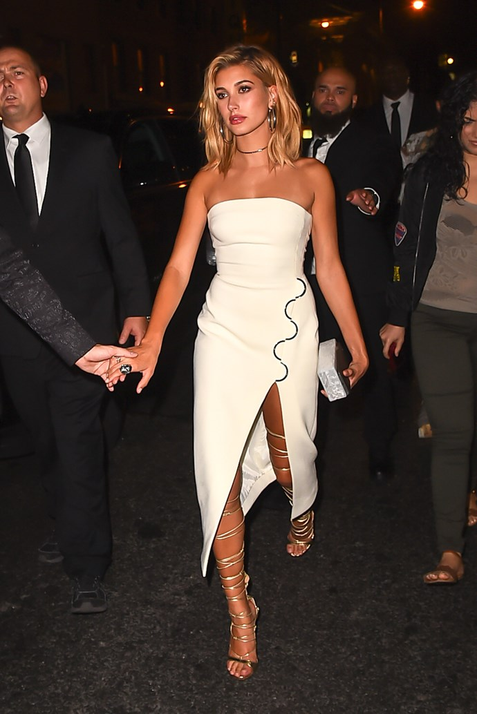 Perhaps a Grecian strappy heel is a top notch choice for Mrs Bieber-to-be.