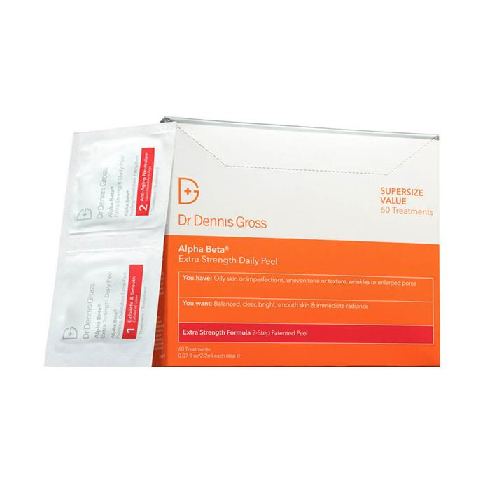 "**Dr. Dennis Gross Alpha Beta Extra Strength Daily Peel, $129 at [MECCA](https://www.mecca.com.au/dr-dennis-gross/alpha-beta-extra-strength-daily-peel/V-017009.html|target=""_blank""