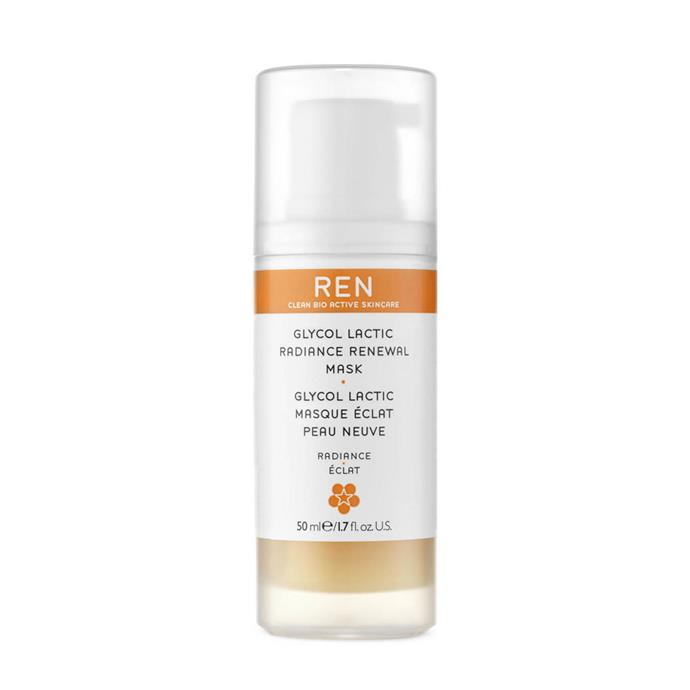 "**REN Glycol Lactic Radiance Renewal Mask, $71 at [MECCA](https://www.mecca.com.au/ren/glycol-lactic-radiance-renewal-mask/V-000905.html|target=""_blank""