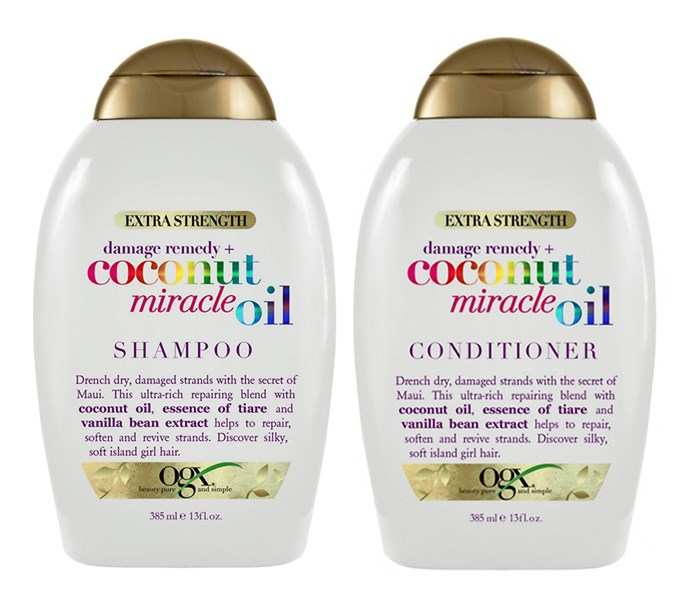 "**OGX Extra Strength Damage Remedy + Coconut Miracle Oil Shampoo, $17.99 at [Priceline](https://www.priceline.com.au/ogx-extra-strength-damage-remedy-coconut-miracle-oil-shampoo-385-ml|target=""_blank""