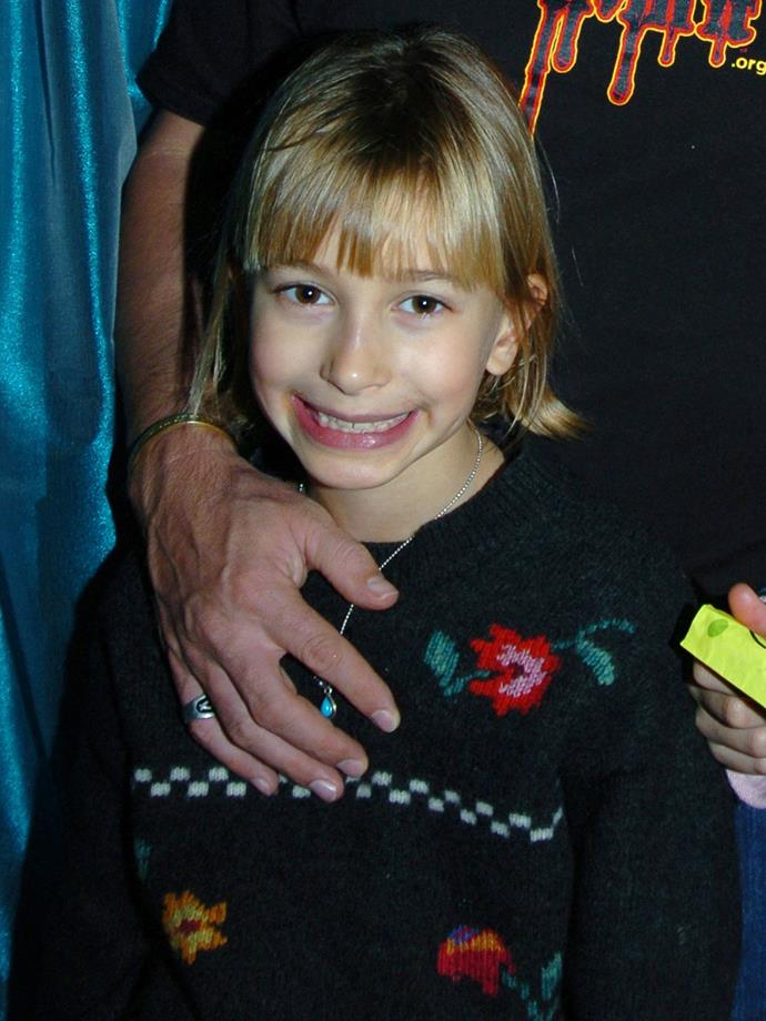 As a tiny 7-year-old in 2014, Hailey rocked a blunt front fringe and her natural golden colour.