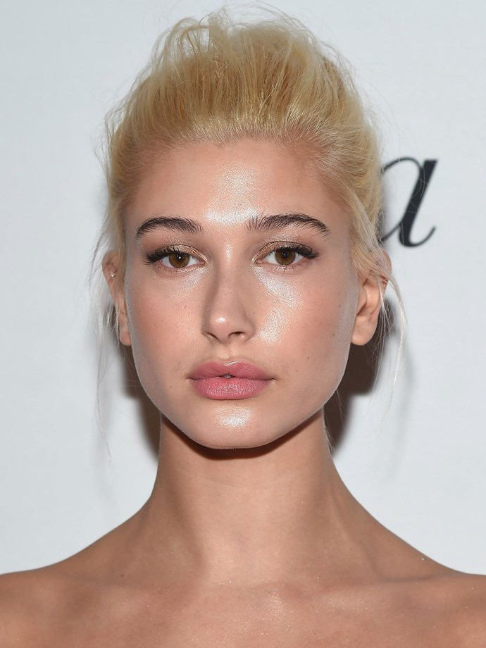 We're not *too* sure if we like this slightly orange tinge of blonde on Hailey, and we're guessing she wasn't a huge fan either, stripping out the warm tones soon after this appearance.