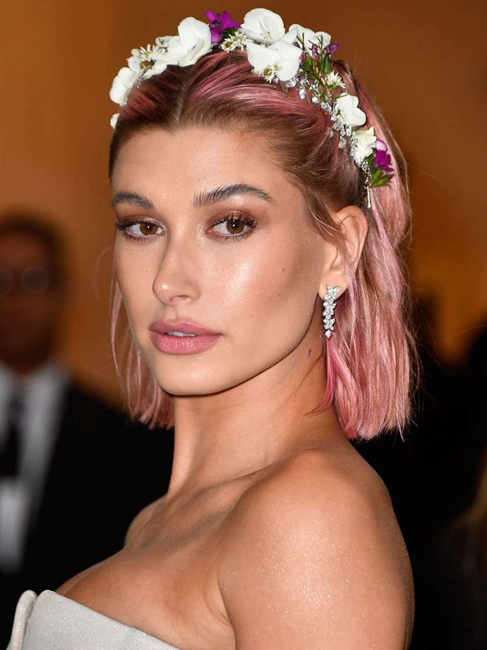 HB's pink hair made a return for the 2018 Met Gala, topping it with the sweetest flower crown.
