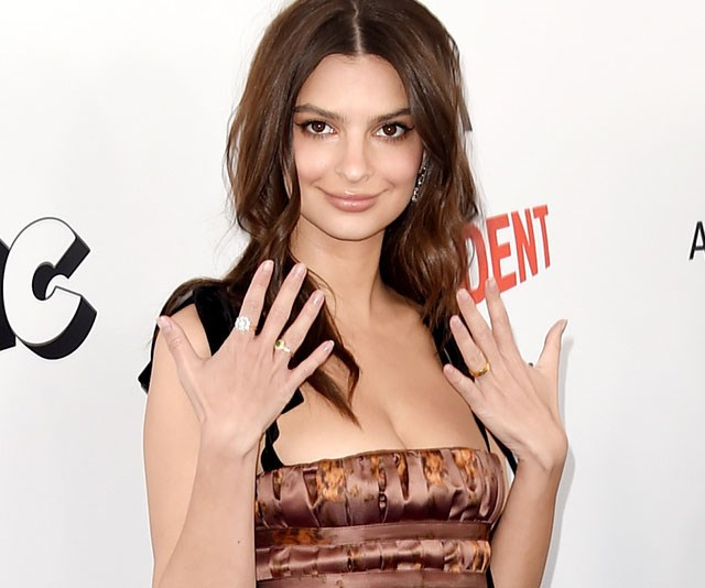 Emily Ratajkowski just shared her HUGGGGE engagement ring on Instagram