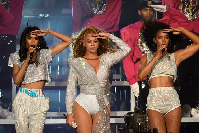 Michelle performing with Beyoncé and Kelly Rowland at Coachella in April 2018.