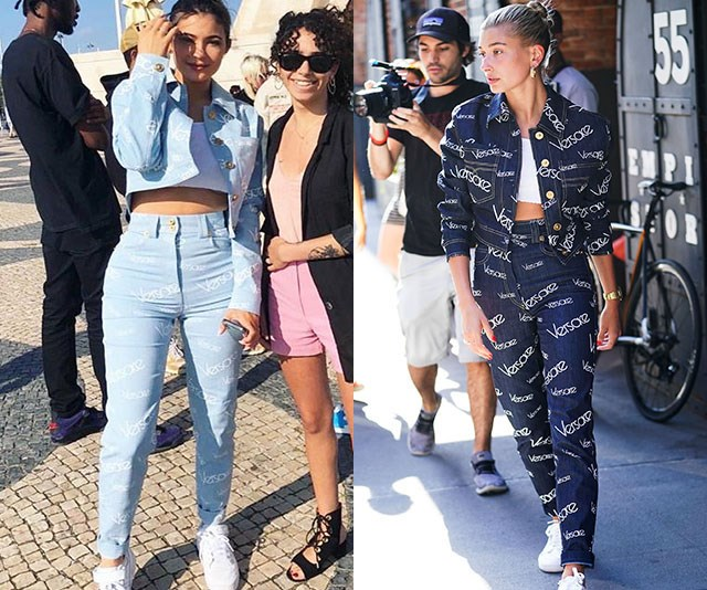 Kylie Jenner and Hailey Baldwin are accidently twinning in a double-denim Versace look