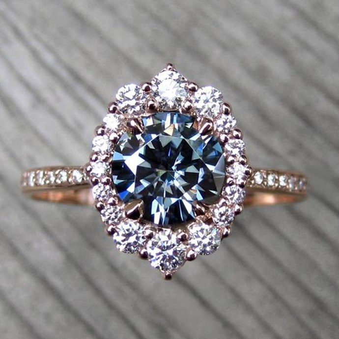 """**Aquarius: Halo ** <br><br> If you were asked to describe your style in one word, 'EXTRA' would probs be accurate. The 'more is more' mantra can also be converted to your engagement. Because the only thing better than one precious stone, is a shittonne of them, amiright? <br><br> Image: [Pinterest](https://www.pinterest.com.au/pin/431219733065671963/ target=""""_blank"""" rel=""""nofollow"""")"""