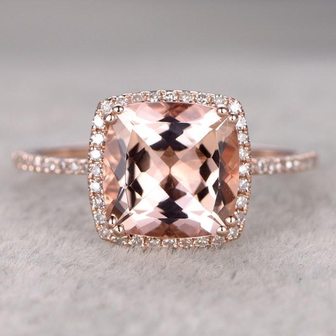 """**Aries: Just One Bigass Diamond** <br><br> First thing's first: you love your bae. BUT, you also love your bling. So it makes total sense for you to combine your two delights in one ginormous ring. Don't '@' us boys - it's in the stars. <br><br> Image: [Bbbgem.com](https://www.bbbgem.com/9mm-big-cushion-3-carat-morganite-engagement-ring-diamond-wedding-ring-14k-rose-gold-claw-prongs/ target=""""_blank"""" rel=""""nofollow"""")"""