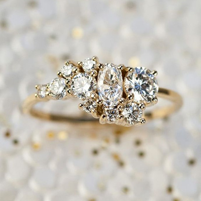 """**Leo: Cluster** <br><br> When people look at your engagement ring you want them to swoon. After all, you only get one, so you're gonna want to get that reaction well into old age. A cluster is perfect for you babe, it's refined, hypnotic and it has that all-important 'WOW' factor. <br><br> Image: [Pinterest](https://www.pinterest.com.au/pin/AaZ9yGkTX5cqg0eSsfCP_4NDNY2WGNmJBOs454NrtX_ZPkOTooJJM8U/ target=""""_blank"""" rel=""""nofollow"""")"""