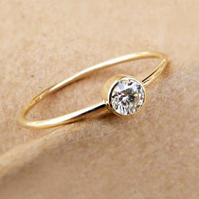 """**Sagittarius: Bezel**  <br><br> You're a risk taker and rarely take part in 'trends'. You know what you like and you really DGAF what anyone else has to say. For your engagement ring, look no further than a bezel ring, which is equal parts cool and quirky.  <br><br> Image: [Pinterest](https://www.pinterest.com.au/pin/284008320225107079/ target=""""_blank"""" rel=""""nofollow"""")"""