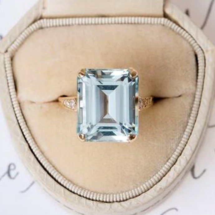 """**Taurus: Emerald** <br><br> If there's one thing that's certain about you, it's that you don't like to have the same thing as everyone else. You're experimental (within reason), which is why the emerald cut setting is just right. Emerald is also your birth stone, so there's that too.  <br><br> Image: [Pinterest](https://www.pinterest.com.au/pin/683069468454336024/ target=""""_blank"""" rel=""""nofollow"""")"""
