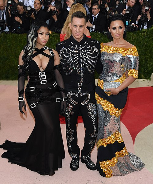 Demi pictured at the 2016 Met Gala with Nicki Minaj and Jeremy Scott.