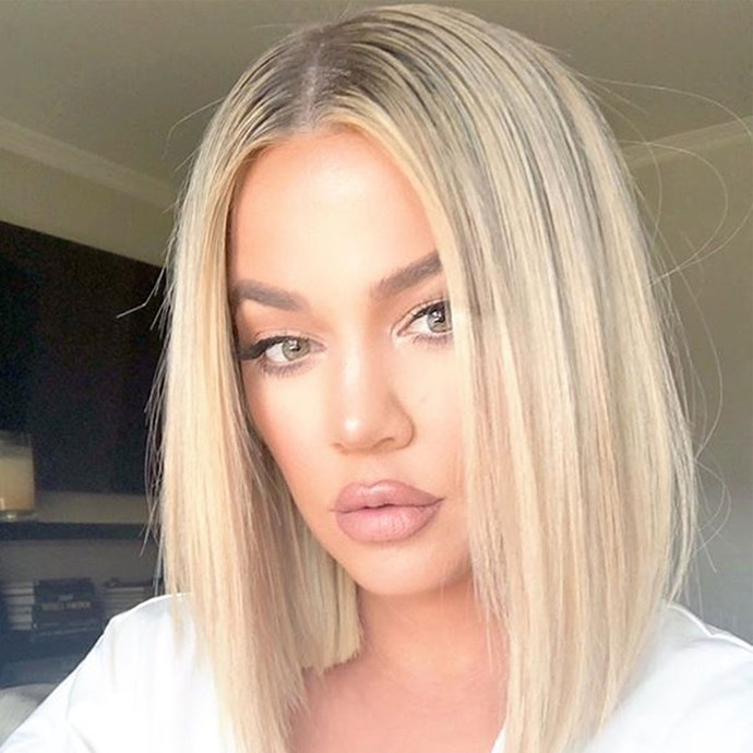 """**Khloé Kardashian** <br><br> Just hours ago, Khloé Kardashian debuted her most dramatic switch up since giving birthday, chopping all her hair off and making a return to her now-signature single-length bob, thanks to hairstylist [Justine Marjan](https://www.instagram.com/justinemarjan/?hl=en