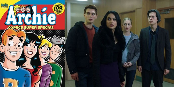 **The Archie Comics crew:** *Archie* comic characters Archie, Veronica, Betty and Jughead (left) have become very real teenage heartthrobs thanks to their on-screen *Riverdale* versions, played by (right, from left) KJ Apa, Camila Mendes, Lili Reihart and Cole Sprouse.