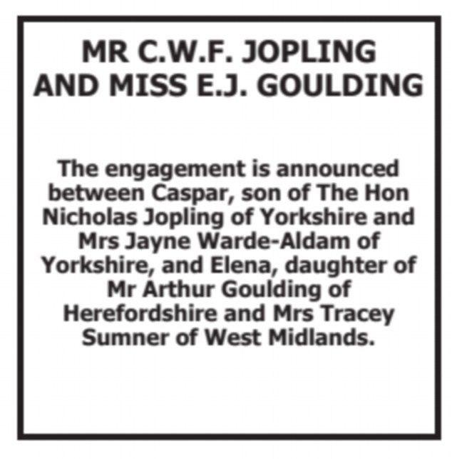 Ellie Goulding and Caspar Jopling's engagement announcement in *The Times*.