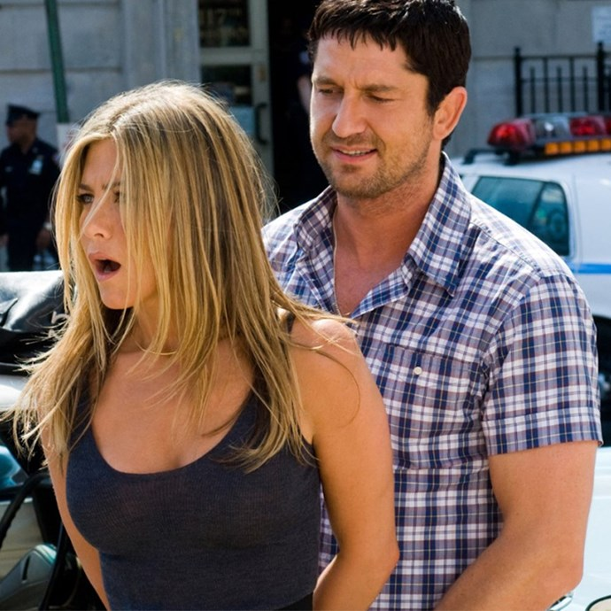 ***The Bounty Hunter*** <Br> Starring Jennifer Aniston and Gerard Butler, *The Bounty Hunter*, true to its name, follows a bounty hunter (AKA bail enforcement agent) who is asked to retrieve his ex-wife after she skips her hearing. Good, mindless fun.