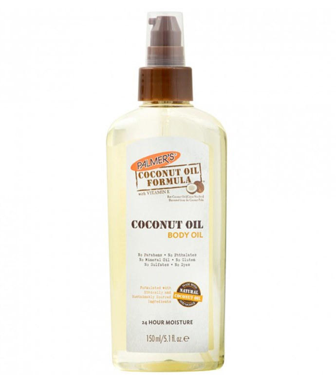 "**Palmer's Coconut Oil formula Body Oil, $9.99 at [Priceline](https://www.priceline.com.au/brand/palmers/palmer-s-coconut-oil-formula-body-oil-150-ml|target=""_blank""