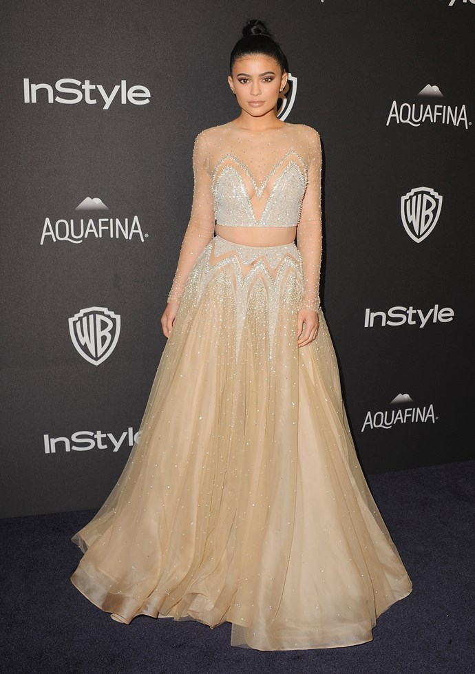 Not for day-wear alone: Kylie makes a convincing case to opt for the crop in the evening. Brides, take note!