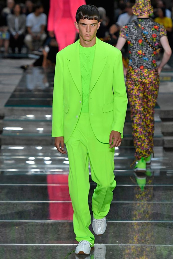 Just in case you didn't believe us, this is the exact same suit walking down the Versace runway at Milan Menswear Fashion Week.