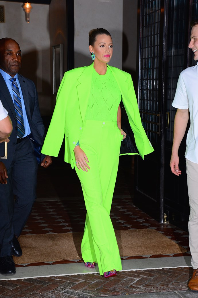 Honestly, only Blake could make a highlighter green suit look this fresh.