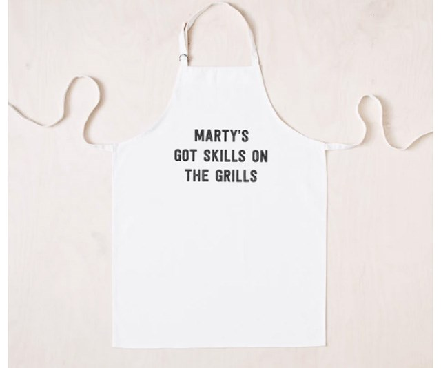 """**Personalised Skills On The Grills Apron, $39.99 from [Fox + Hind](https://www.hardtofind.com.au/157051_personalised-skills-on-the-grills-apron