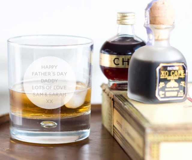 """**Personalised Whisky Tumbler, $49.06 from [Oh So Cherished](https://www.hardtofind.com.au/153366_personalised-whisky-tumbler