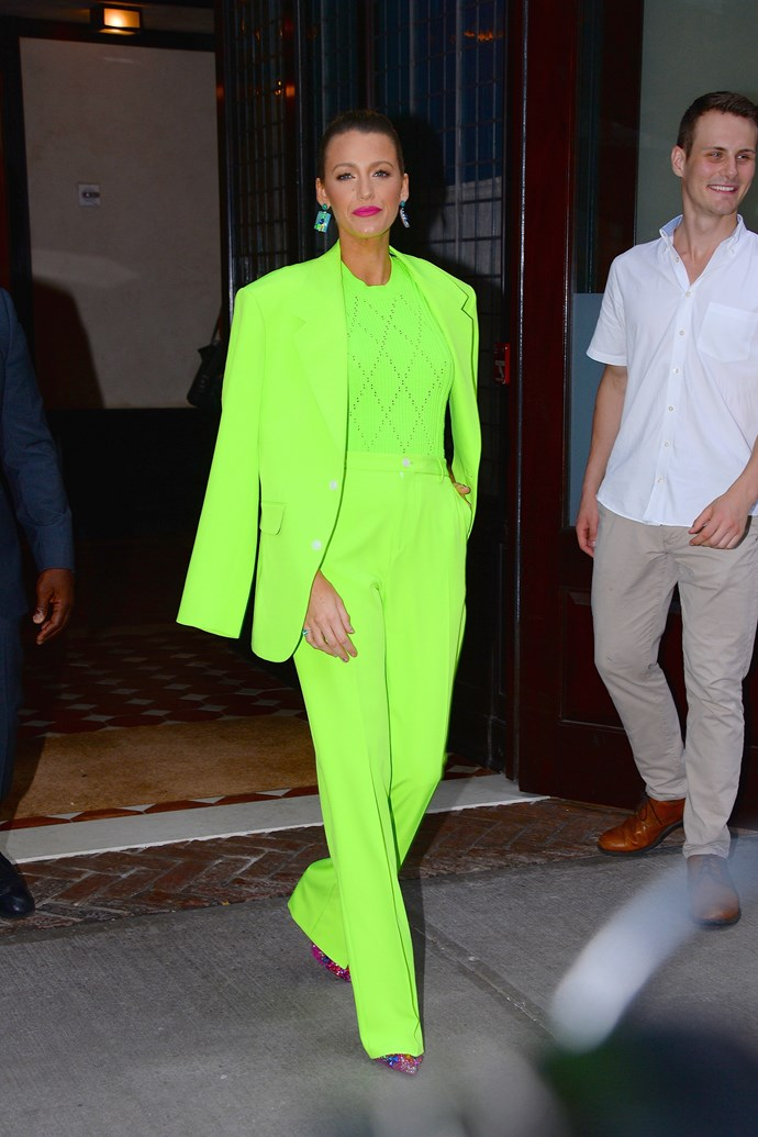 As we all know, what the Kardashians do, others follow. In less then a week since her neon debut, we've already spotted three celebs taking her cue! Example A: Blake Lively stepping out earlier this week in Kim's colour of choice.