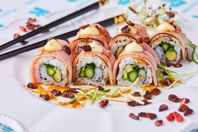 """**Bacon Sushi, $11.90 from [Deliveroo](https://deliveroo.com.au/menu/melbourne/albert-park/salon-de-sushi