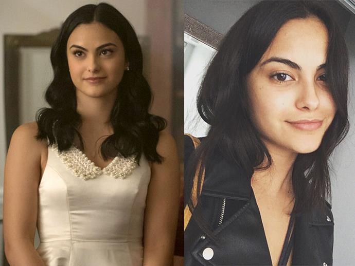 **Camila Mendes AKA Veronica Lodge:** When you have dark, gorgeous features like Cami, you don't need no mascara or highlighter.