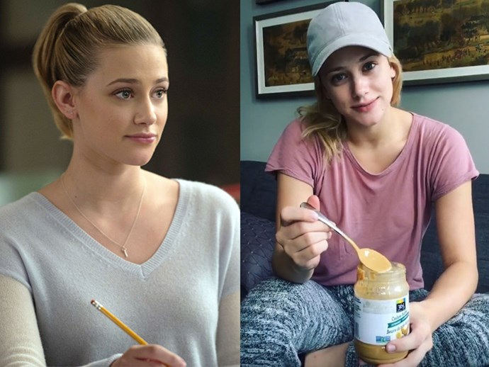 **Lili Reinhart AKA Betty Cooper:** She might be picture-perfect on screen but, bless her heart, in real life Lili isn't afraid to show off her at-home persona. No makeup, pyjamas, peanut butter — the works.