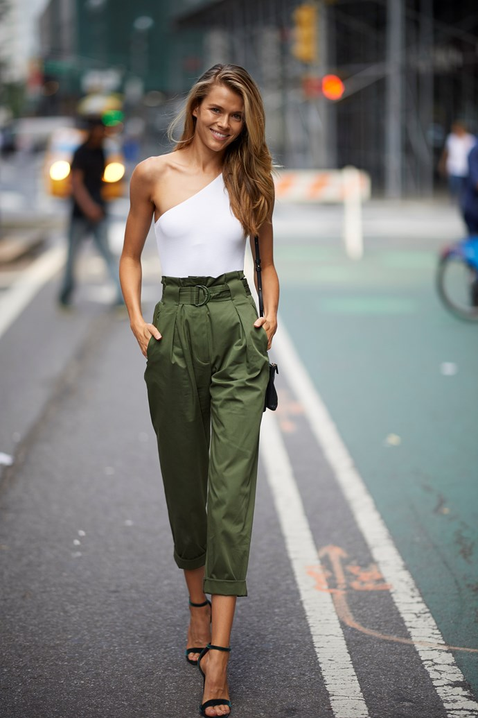 Another *Cosmo* girl, Victoria Lee looking seriously chic in the trouser of the season (it's all about a high-paper-bag-waist FYI).