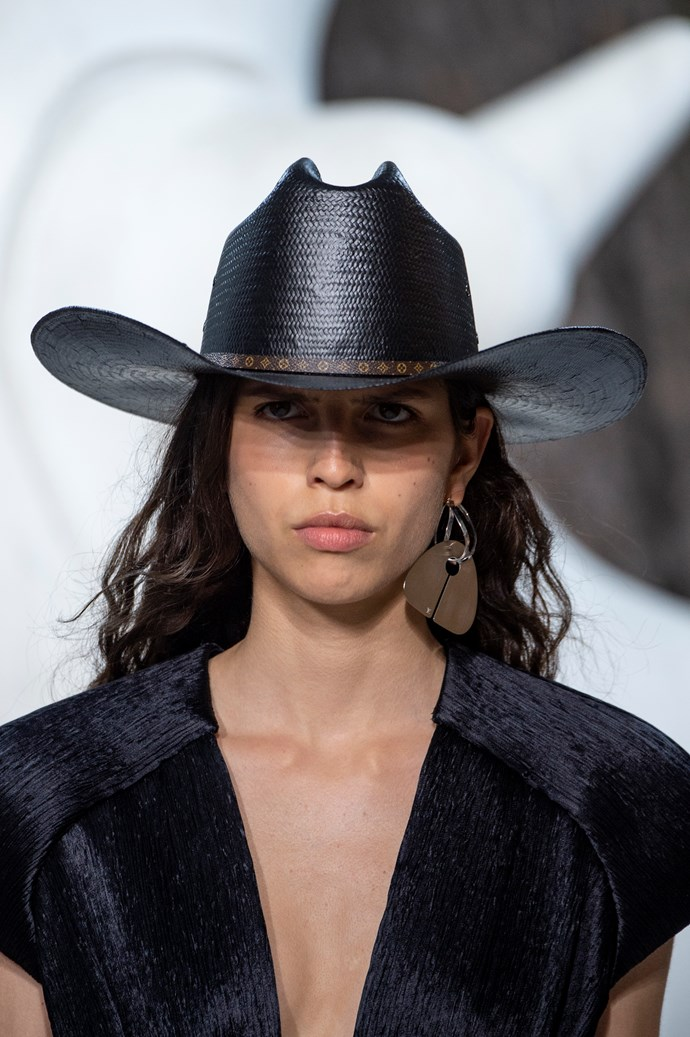 "The hat of the season on the Louis Vuitton runway. PrettyLittleThing are more our budget and do a great [FEDORA](https://www.prettylittlething.com.au/mandarin-snake-print-slinky-flares.html|target=""_blank""