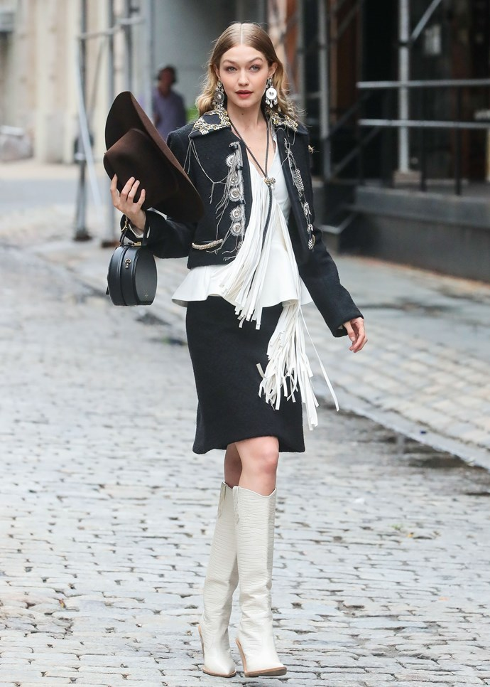 "Gigi once again sporting a total western number. Zara have done a super cool cowboy boot you can snap up [HERE](https://www.zara.com/au/en/cowboy-ankle-boots-p17112301.html?v1=6700580&v2=1055038|target=""_blank""