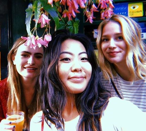 The cast are great friends off the show too and regularly share snaps of themselves hanging out in their downtime. Here are (from left) Kathryn, Nicole and Elizabeth having a bev.