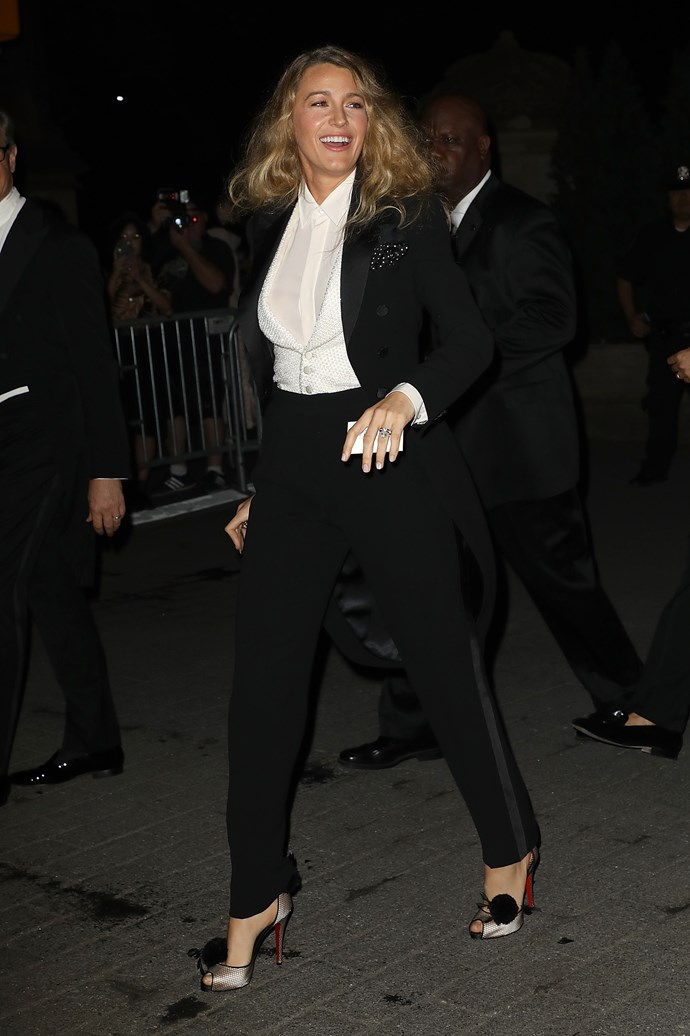 Blake attended the Ralph Lauren show at New York Fashion Week in one of the designer's signature tuxedos.
