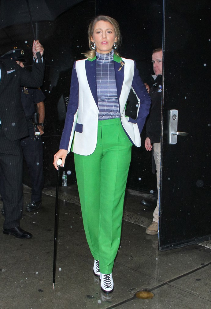 The green pants. The striped skivvy. The cane. It's a lot, but Blake makes it come together like a symphony.