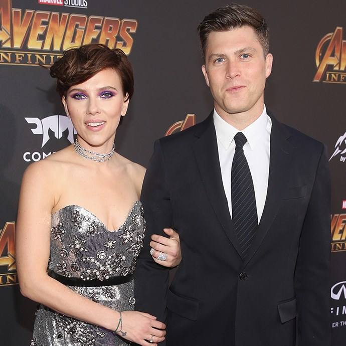 **Scarlett Johansson and Colin Jost:** The actress and her *Saturday Night Live* star boyfriend have remarkably similar face shapes and pretty blue peepers in common.