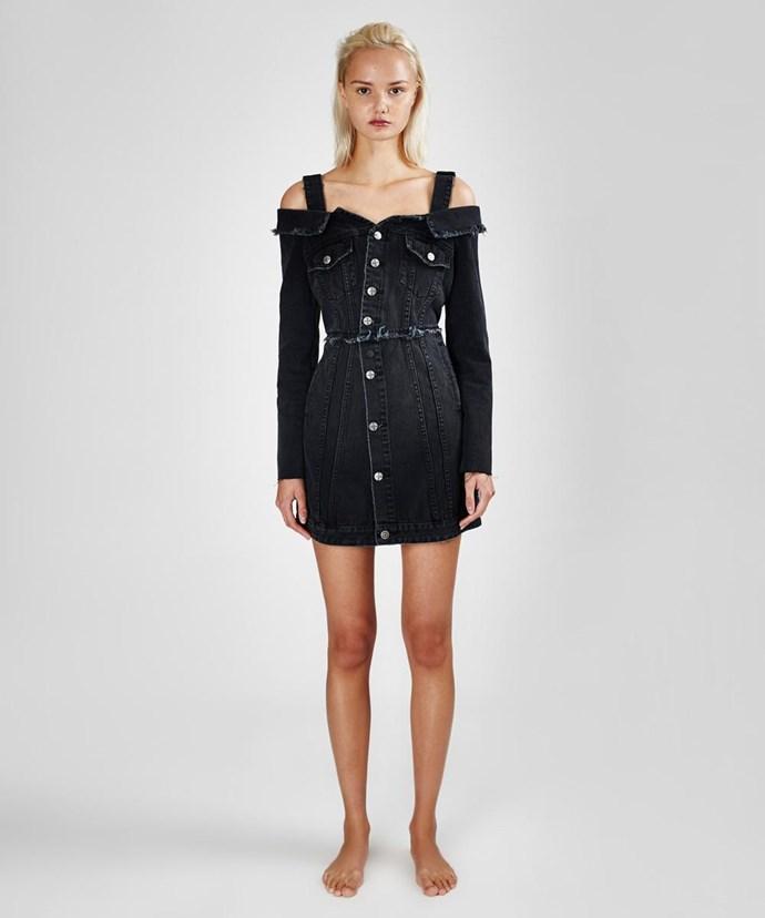 "Hi Society dress, $289.95 at [Ksubi](https://www.ksubi.com/au/womens/ksubi/dresses/count-dress-hi-society-5000002728-001|target=""_blank"")"