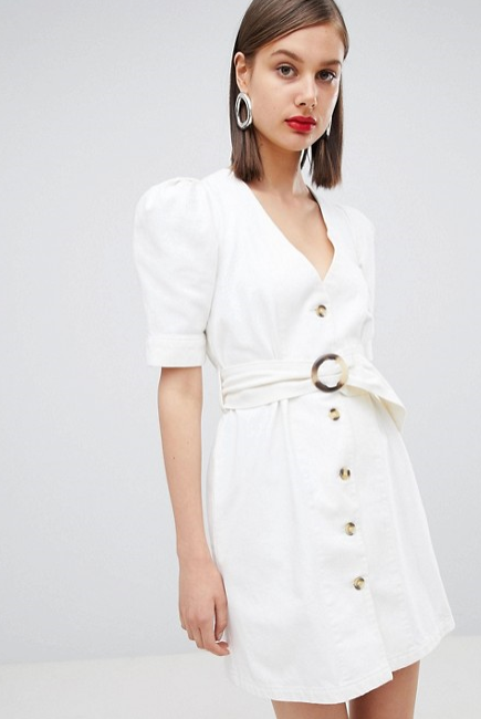 "ASOS DESIGN denim belted dress in white, $76 at [ASOS](https://www.asos.com/au/asos-design/asos-design-denim-belted-dress-in-white/prd/9365334?clr=white&SearchQuery=denim&gridcolumn=3&gridrow=11&gridsize=4&pge=7&pgesize=72&totalstyles=37344.|target=""_blank"")"