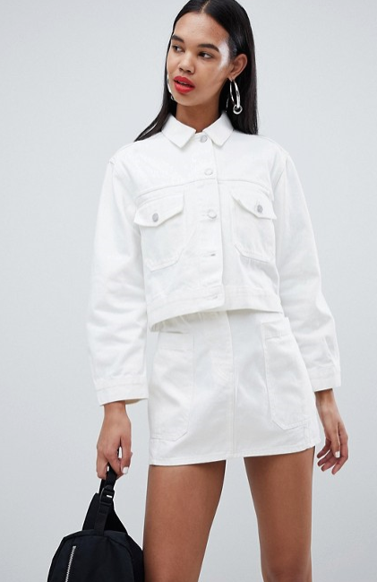 """Weekday Cropped Denim Jacket, $110 at [ASOS](https://www.asos.com/au/weekday/weekday-cropped-denim-jacket/prd/10259430?clr=white&SearchQuery=denim&gridcolumn=2&gridrow=13&gridsize=4&pge=1&pgesize=72&totalstyles=3734