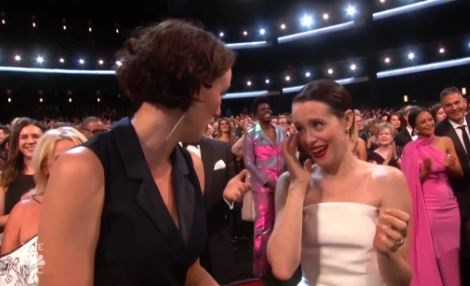 Claire Foy crying.