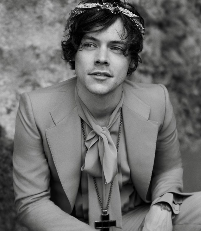 Harry Styles ft. HIS BEAUTIFUL FACE. (Courtesy of Gucci)