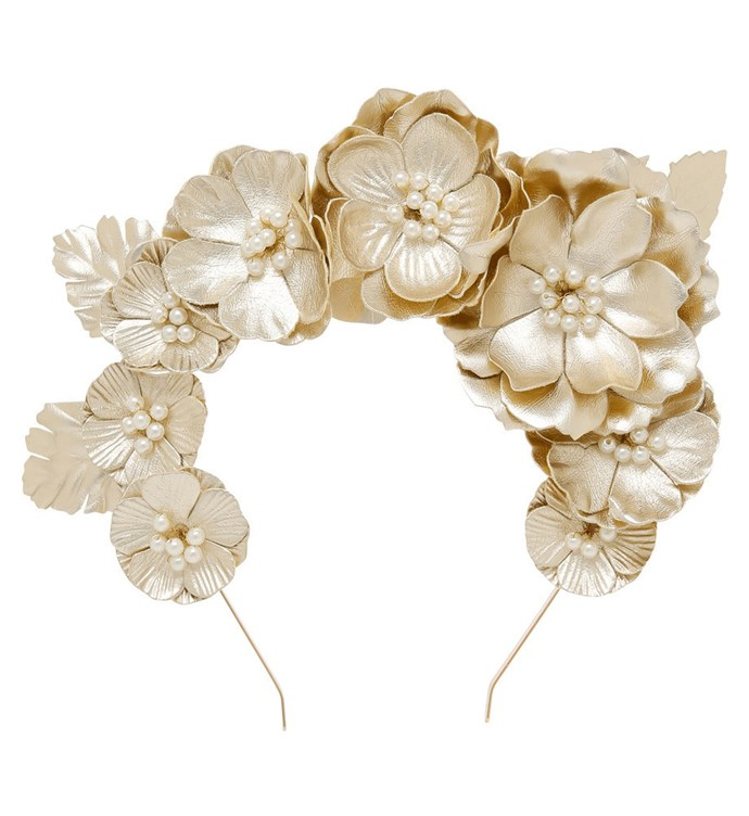 """Step out as the queen of race day in a crown that will have you the envy of all. This intricate gold, flower crown is certain to be the talk about headpiece of the day. <br> [Myer Gold Crown Headband by Miss Shop, $24.95](https://www.myer.com.au/shop/mystore/women/women-accessories/fascinators-racing-hats/gold-pu-hi-crown-headband-fbhb97928-020-617541850-617535280