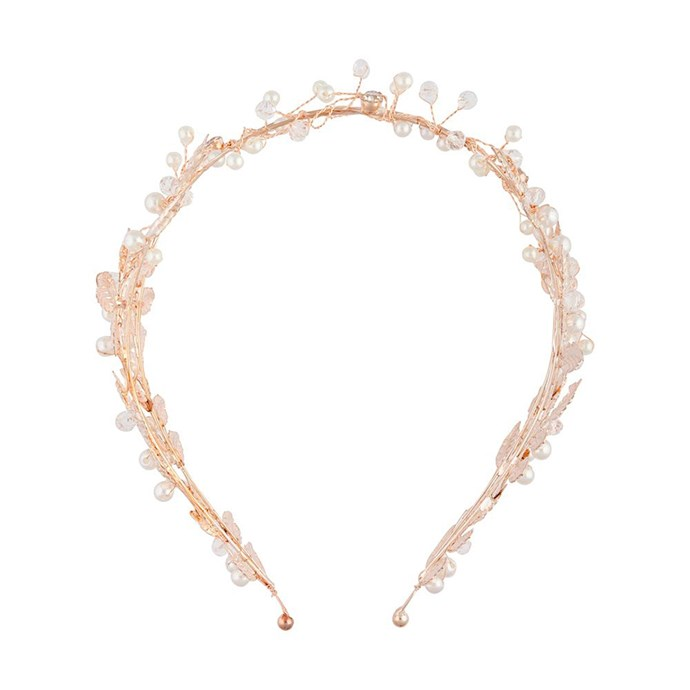 """If you're striving for chic but the budget does not permit, there is always a way to achieve opulence. This headband is totally feminine with a hint of pearl. <br> [Loviza Rose Gold Pearl Crown, $39.99](https://www.lovisa.com/collections/hair/products/rose-gold-double-laurel-and-pearl-crown