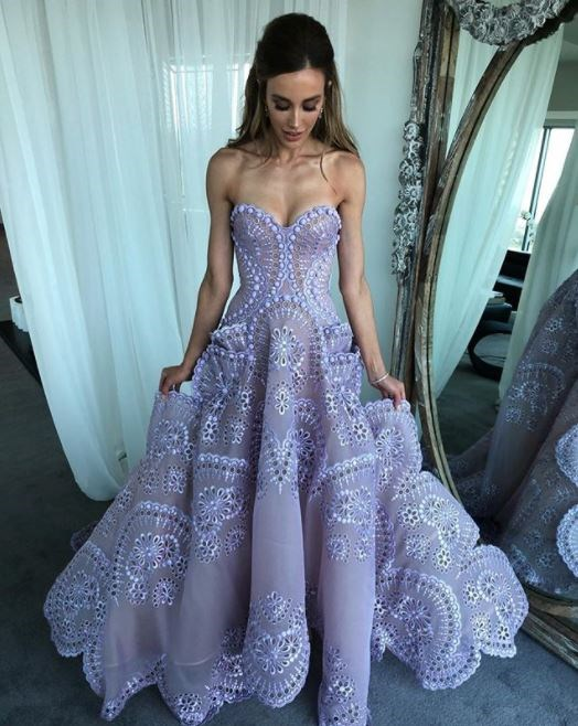 Brownlow queen Bec Judd making doilies look chic in J'Aton Couture.