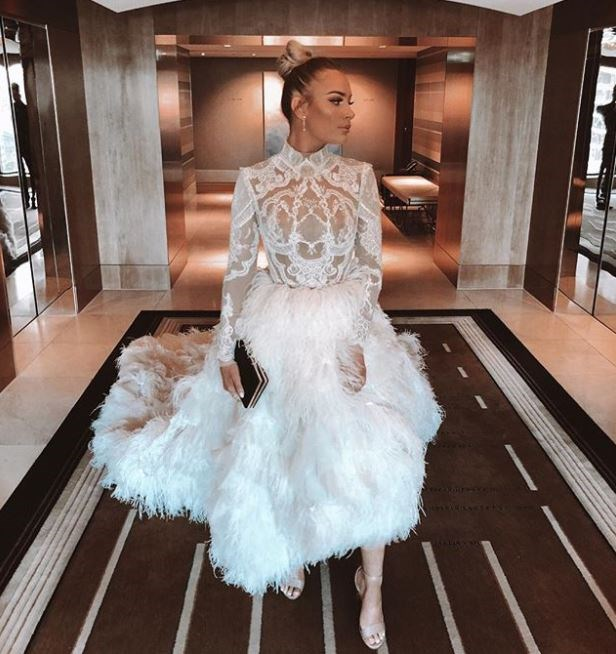 No birds were harmed in the making of Logan Shine's Con Ilio dress (we hope...).