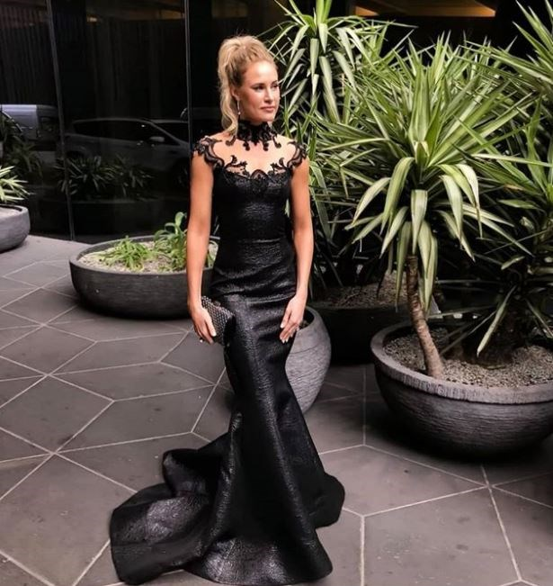 Event host Samantha Riches giving off (good) Maleficent vibes in Zian Couture.